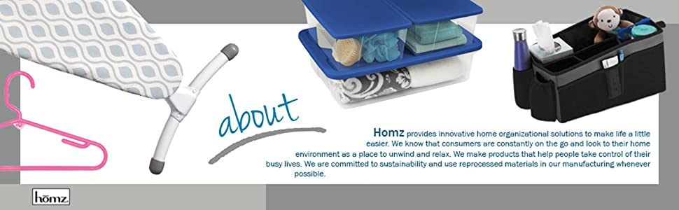 Homz Home Products International storage organize plastic ironing board clear bin container