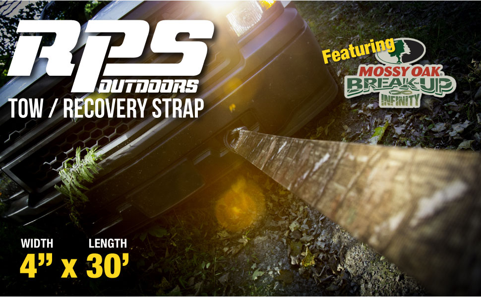 20,000 lb Strength RPS Outdoors SI-2046MO Mossy Oak Break-Up Infinity Camo 4 x 30 Tow and Recovery Strap
