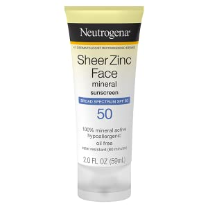 Neutrogena Sheer Zinc Oxide Dry Touch Mineral Face Sunscreen Lotion with Broad Spectrum SPF 50