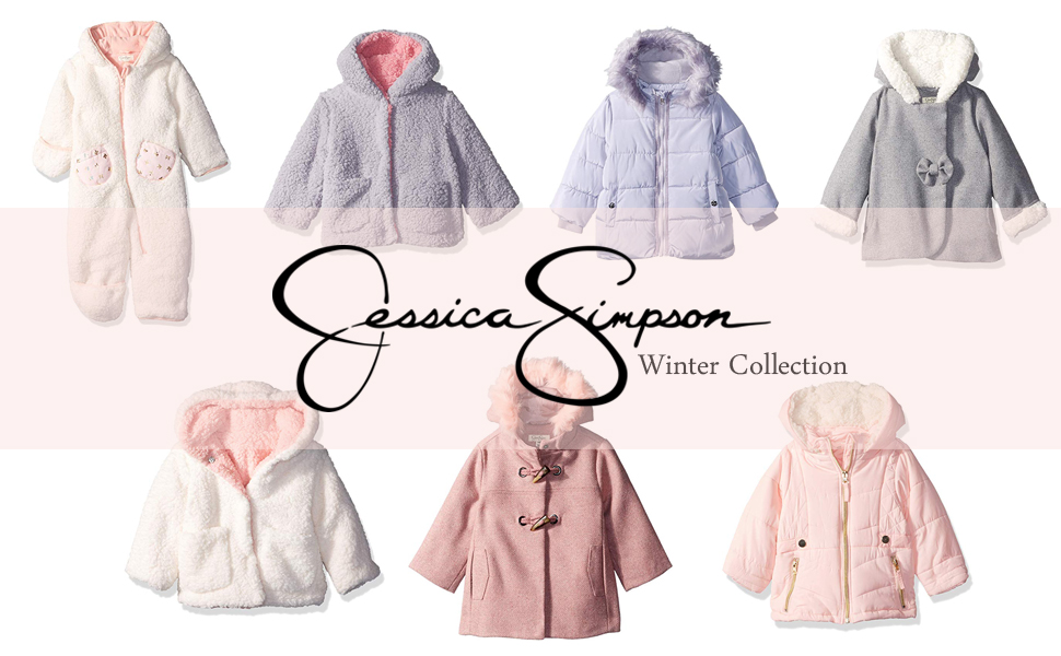 Jessica Simpson Baby Girls Faux Wool and Sherpa Jacket