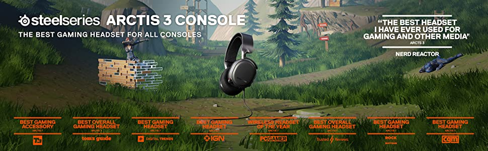 SteelSeries Arctis 3 Console, Stereo Wired Gaming Headset, PlayStation 4, Xbox One, Nintendo Switch