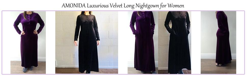 AMONIDA Luxurious Velvet Long Nightgown for Women Button Up Pajama ... 9244fff53
