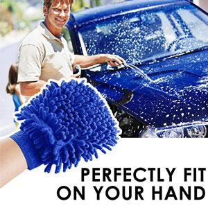Verigle Wash Mitt Premium Chenille Microfiber Scratch Free Car Sponge Double Sided Auto Ultra fine Fiber Professional Cleaning One Size Blue