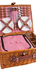 eGenuss LYP1593RED Handgefertigtes Picknickkorb f/ür 2 Personen Inklusiv Multifunktionsmesser Edelstahlbesteck Teller und Keramikbecher Rotes Gingham-Muster 32x25x17 cm
