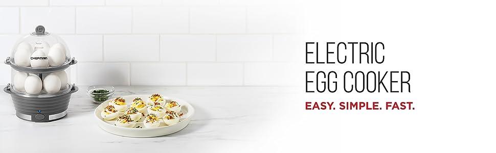 electric egg cooker maker double deluxe rapid boiler hard boiled poacher food veggie vegetable steam