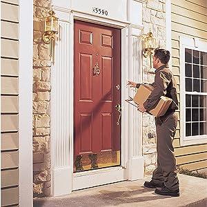 NuTone Door Chime Push Button, postal carrier at front door