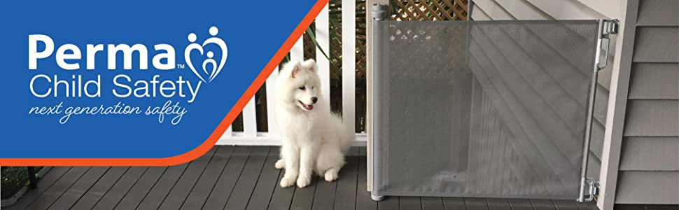 Perma Child Safety Next Generation Safety Outdoor Retractable Gate with dog