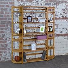 flip flop, bookcase, bookshelf,folding,collapsing,living room, shelves,open back, oak