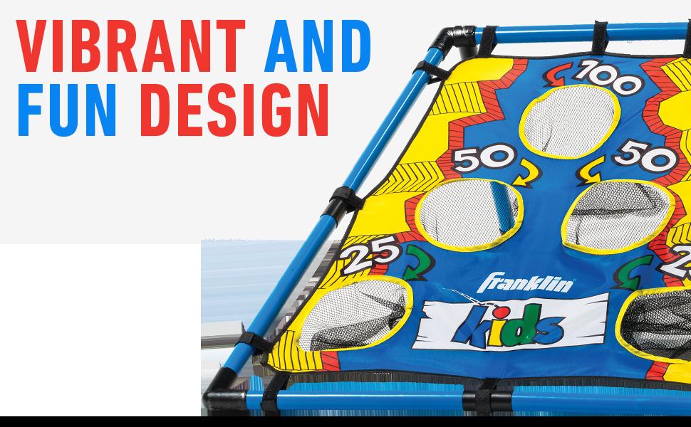 vibrant design, fun, cornhole, kids cornhole, bean bag toss, family fun, outdoor game, youth sports