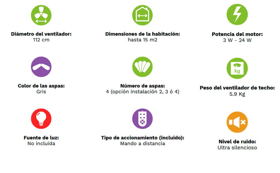 Casafan Ventilador para techos Bajos Eco Plano II 311283 - 112cm / hasta 15m2 (Blanco): Amazon.es: Hogar