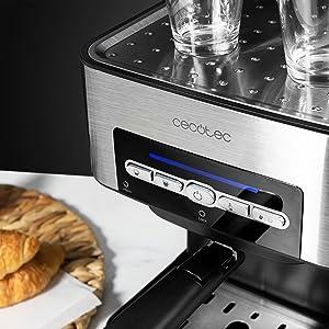Cecotec Cafetera Espresso Power Espresso 20 Matic. Presión 20 Bares, Depósito de 1,5l, Brazo Doble Salida, Vaporizador, Superficie Calientatazas, ...