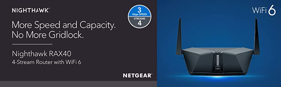 More Speed and Capacity.  No More Gridlock.  Nighthawk RAX40  4-Stream Router with WiFi 6