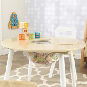 Amazon Com Kidkraft Round Storage Table 2 Chair Set Natural White Toys Games