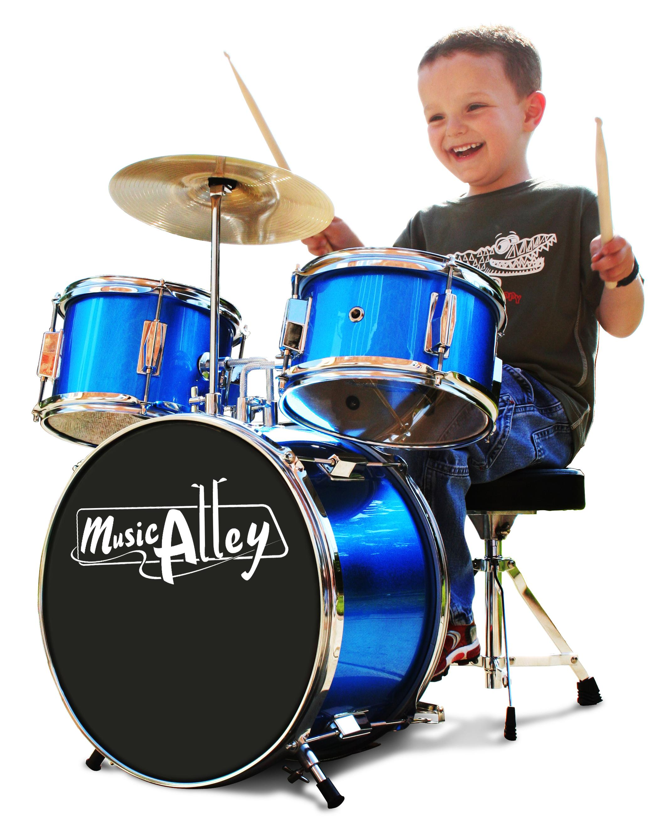 Music Alley 3 Piece Junior Drum Kit With Cymbal Pedal