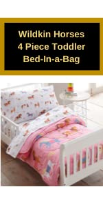 wildkin horses 4 piece toddler bed in a bag