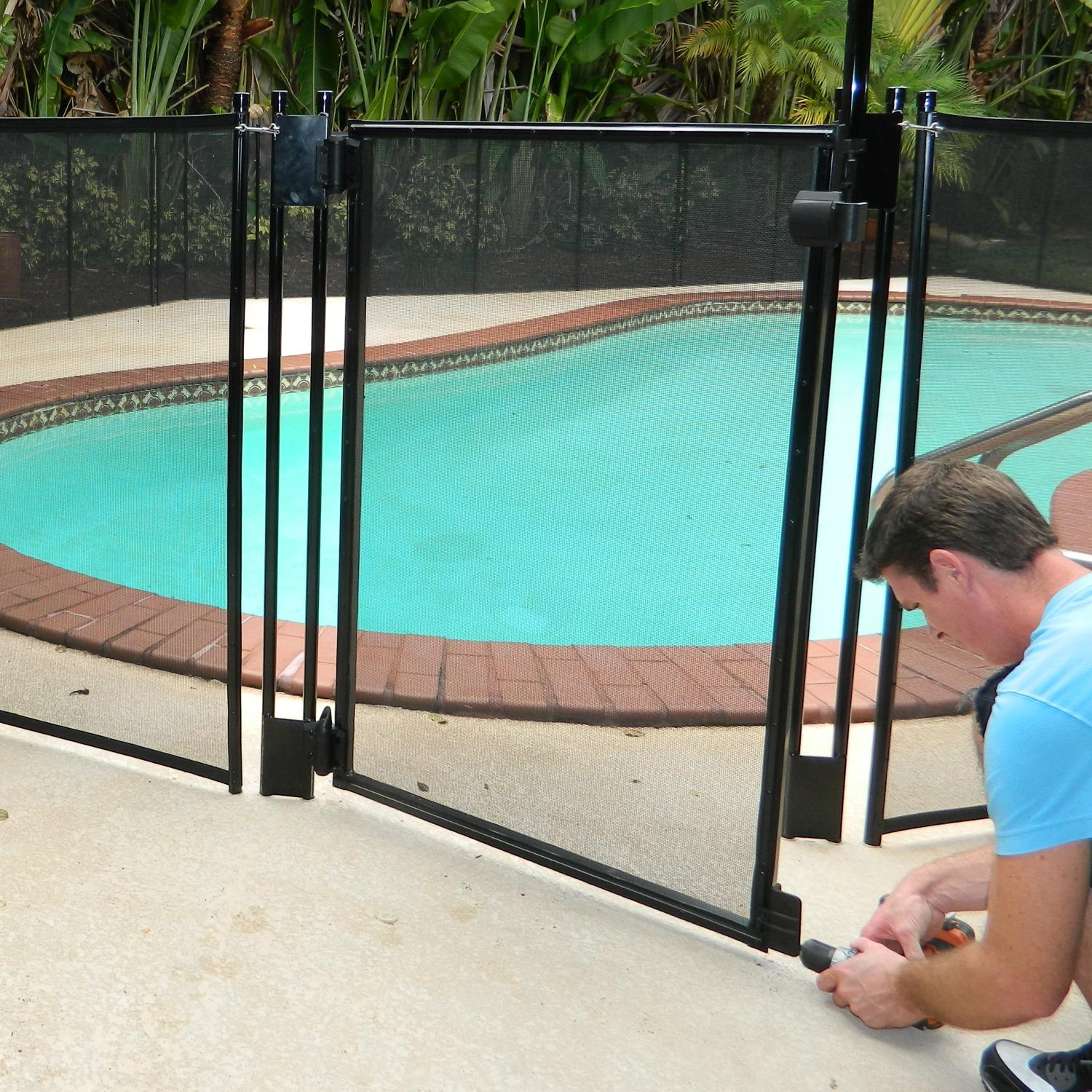 Pool Fence DIY by Life Saver Pool Fence, Black Self-Closing Gate, Drill  Guide Bundle