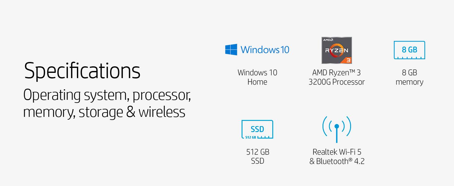 Specifications AMD Ryzen 3 processor memory hard drive SSD bluetooth Wi-Fi