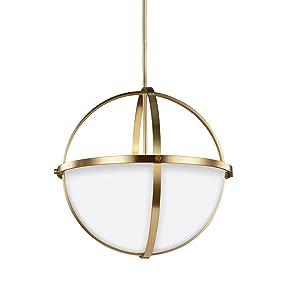 Amazon.com: Sea Gull Lighting 6624603-848 Alturas - Lámpara de techo (3  luces, 100 W, acabado en bronce satinado con cristal blanco y grabado):  Home Improvement