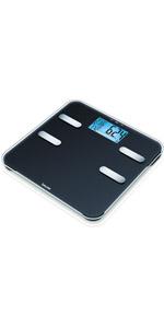 Personenweegschaal voor het bepalen van gewicht, lichaamsvet, lichaamswater, spierpercentage, botmas