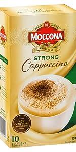 Moccona coffee, moccona mixes,strong cappuccino, moccona cappuccino, sachet, sachets, coffee sachets
