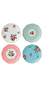 NEW COUNTRY ROSES TEA PARTY COASTER SET of 4 MIXED PATTERNS