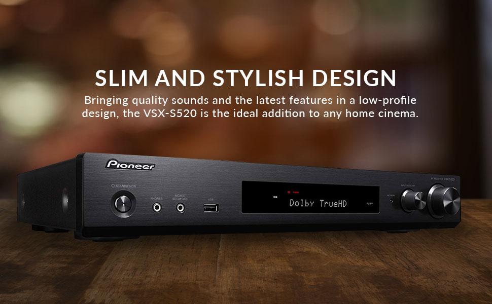 Amazon Com Pioneer Vsx S520 Slim Home Audio And Video Receiver Black Pioneer Home Electronics