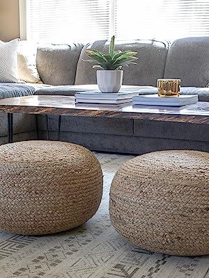 Jute;jute pouf;round pouf;ottoman;round ottoman;small space seating