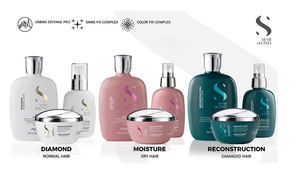 Alfaparf Milano Semi Di Lino Diamond Moisture Dry Hair Reconstruction Damaged Shampoo Conditioner