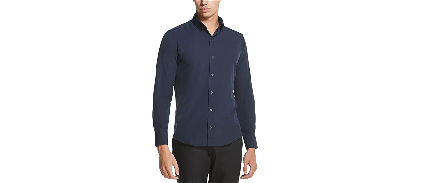 Winwinus Mens Pure Color Business Long Sleeve Career Button Down Shirt