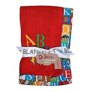dr seuss baby blanket, alphabetical baby blanket, red baby blanket