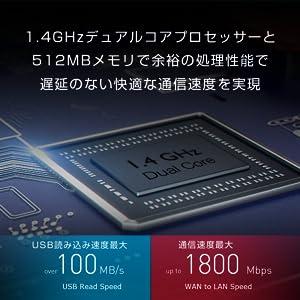 デュアルコアプロセッサーと512MBメモリで余裕の処理速度