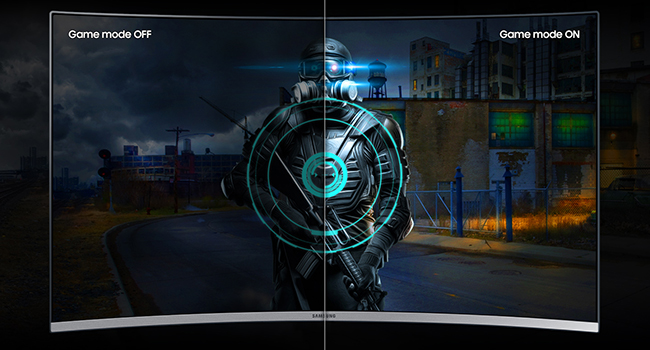 Side-by-side comparison of Game Mode on vs. off comparison on Samsung Curved 4K UHD Monitor