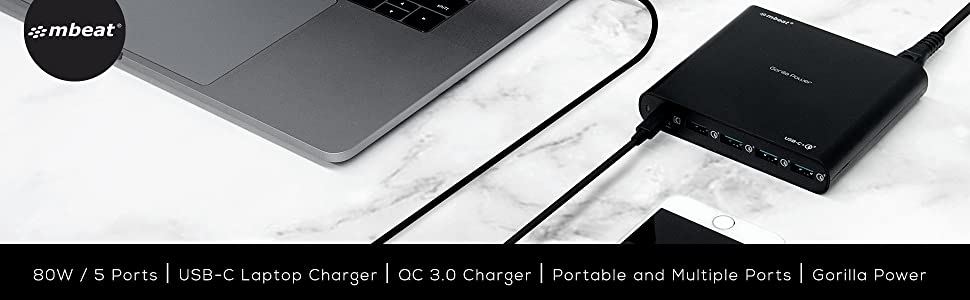 mbeat gorilla power mb-chgr-pd80 5 port usb-c laptop charger quick charge 3.0 qc 3.0 charger banner