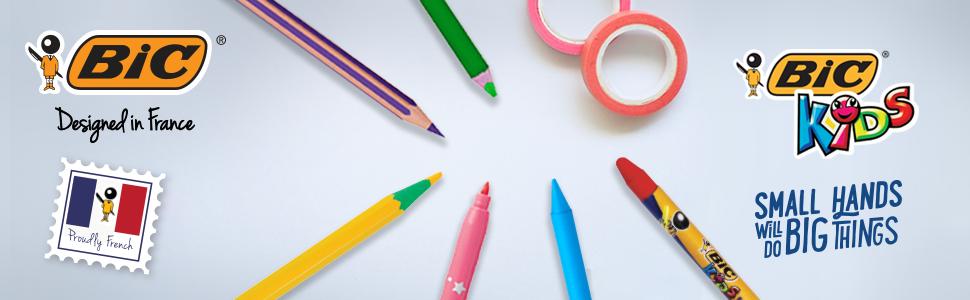 ビック 色鉛筆 ビッグキッズ 12色 ケースおまけ付 BKETRI12E-APR BIC BICジャパン フランス かわいい おしゃれ 個性的 コンテ こども 子供向き 三角軸 三角