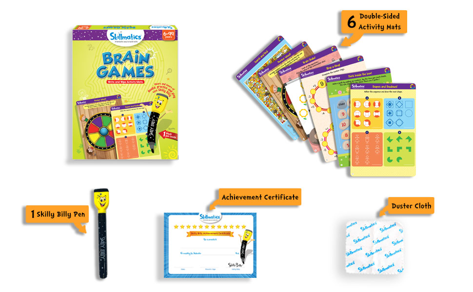 Buy Skillmatics Educational Game Brain Games 6 99 Years Erasable And Reusable Activity Mats Toy With Marker Learning Tools For Kids 6 7 8 9 Years And Up Online At Low Prices In India Amazon In