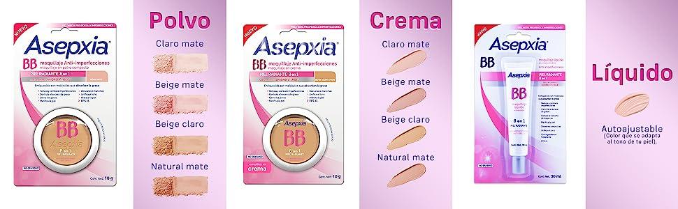 8e8f62d9b Asepxia, maquillaje en polvo, maquillaje líquido, maquillaje en crema,  base, tonos