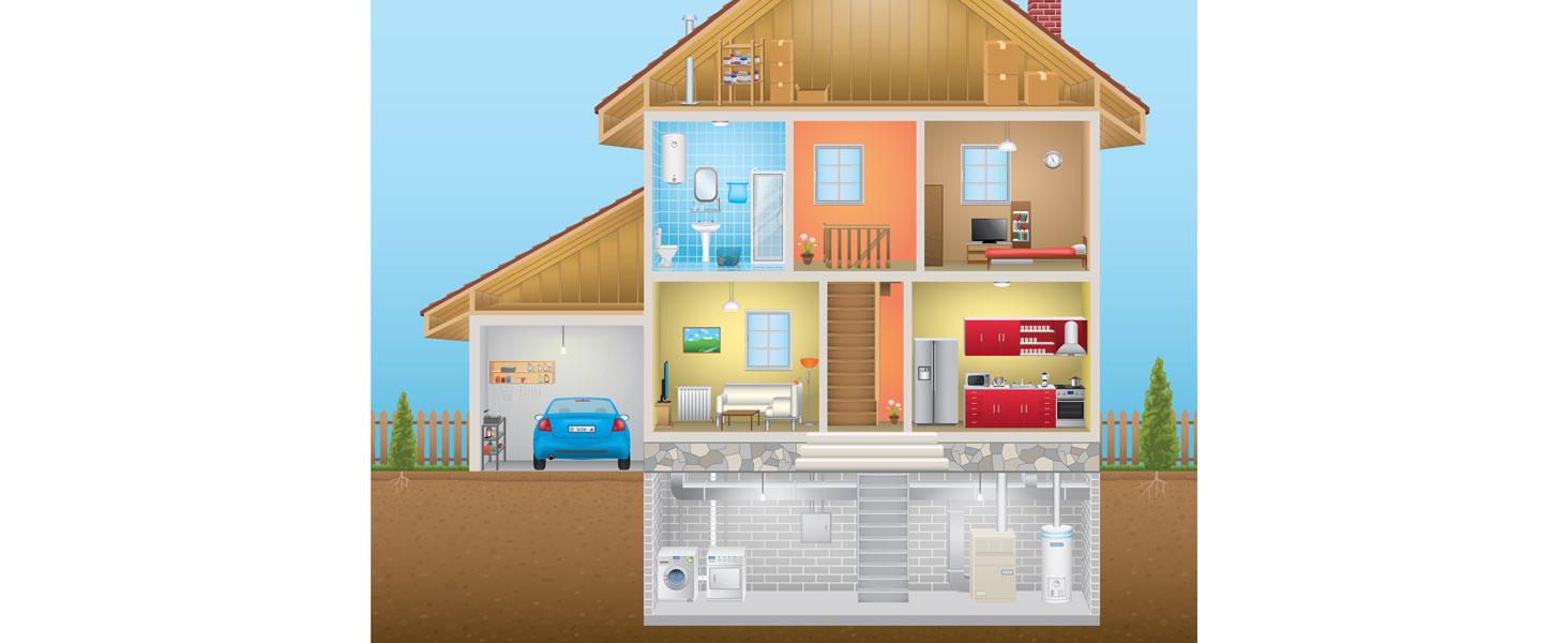 Cut away of house