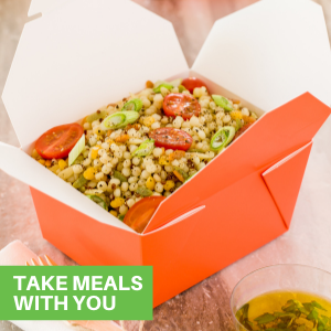 With tab lock closures and lids, these disposable lunch box containers securely seal in foods.