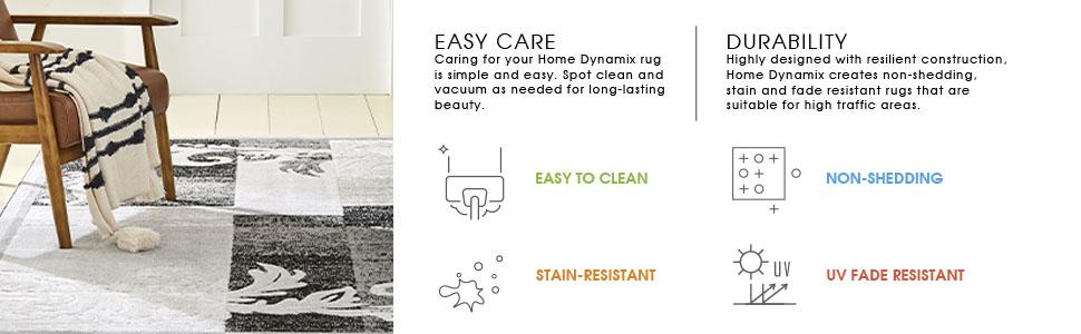 easy clean rugs