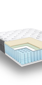 Queen 12 Inch cool gel memory foam mattress, gel mattress queen, best plush cool gel mattress
