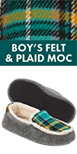 Dearfoams Kids Felt and Plaid Bootie Slipper