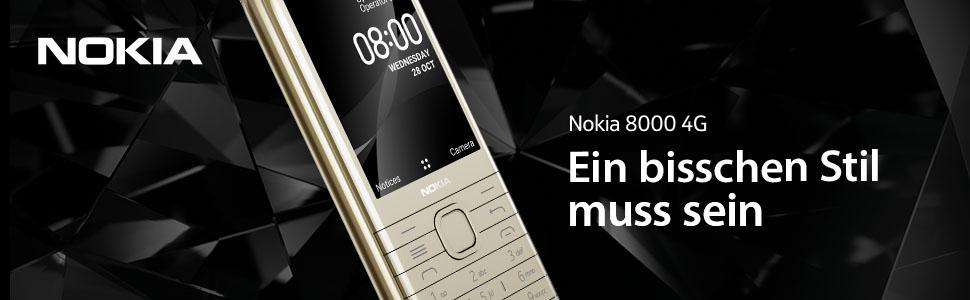 Nokia 8000 4g Dual Sim Mobiltelefon In Edlem Look 2 8 Qvga Display 4g Technologie 4 Gb Speicher Bis Zu 128 Gb Via Microsd Bluetooth 2 Mp Kamera Fm Radio Mp3 Player Schwarz Amazon De
