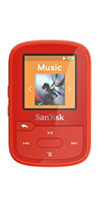 SanDisk Clip Sport Plus Wearable MP3 Player, 16GB Red