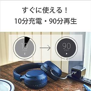 10分の充電で90分の再生が可能なクイック充電にも対応。