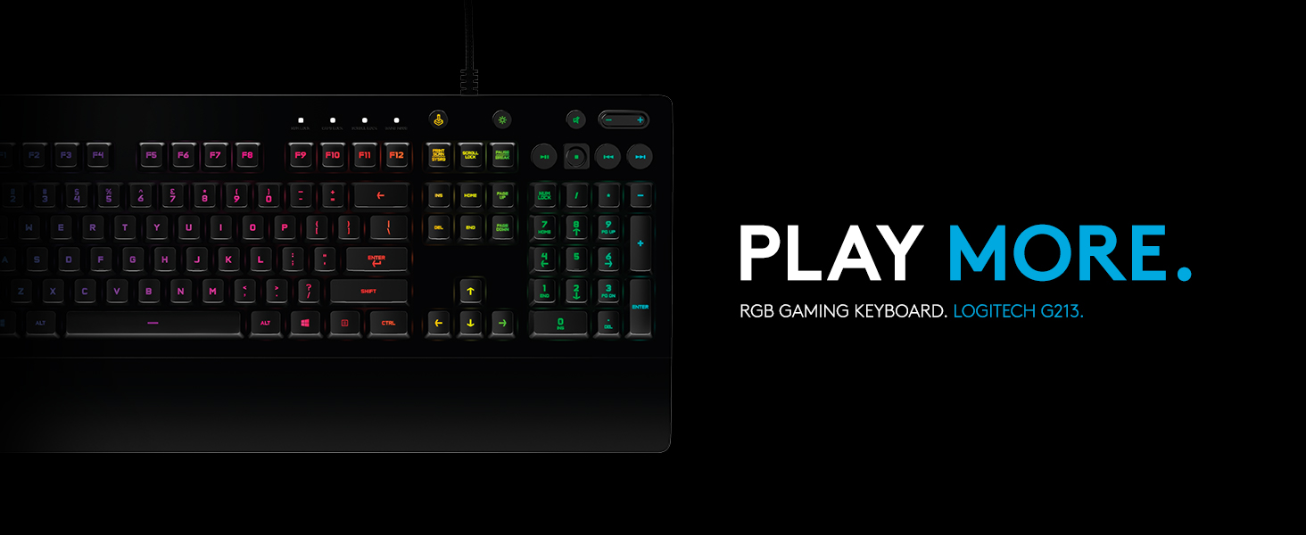 Logitech G213 Prodigy Gaming Keyboard Rgb Backlit Qwerty Uk Layout Black