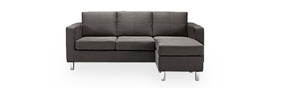 Amazon Com Small Spaces Configurable Sectional Sofa Gray