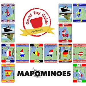 Mapominoes Europe Card Game Cards on back of box and logo of game