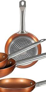 San Ignacio Copper Plus Set 3 sartenes + 4 fiambreras + 3 ...