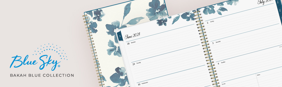 blue sky bakah blue academic collection banner, planners, calendars, weekly, monthly, 2021-2022