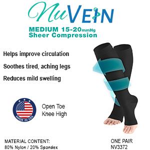 NuVein Open-Toe Sheer compression socks 15-20 mmHg